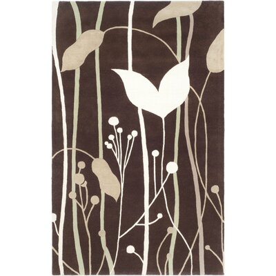 Freda Dark Brown Area Rug Rug Size: Rectangle 36 x 56