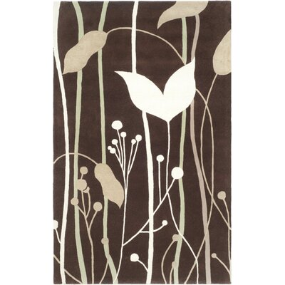 Freda Dark Brown Area Rug Rug Size: 5 x 8
