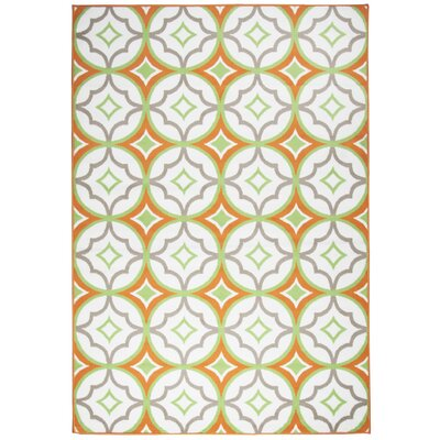 Bowman White/Orange Indoor/Outdoor Area Rug Rug Size: 53 x 77