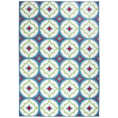 Bowman Blue/White Indoor/Outdoor Area Rug Rug Size: 53 x 77