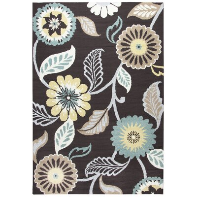 Evangeline Hand-Tufted Espresso/Teal Indoor/Outdoor Area Rug Size: 36 x 56