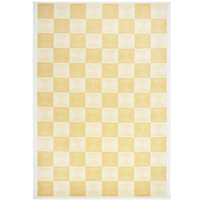Charlotte Gold/Ivory Indoor/Outdoor Area Rug Rug Size: 53 x 77