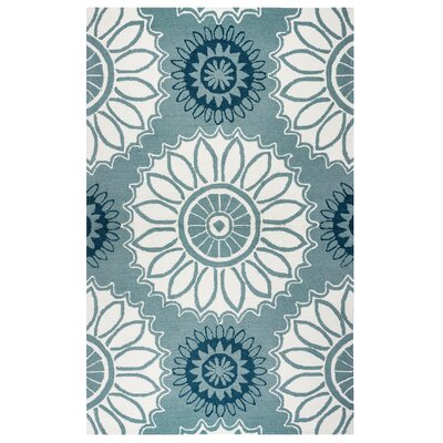 Evangeline Hand-Tufted Dark Sage Floral Indoor/Outdoor Area Rug Size: 76 x 96
