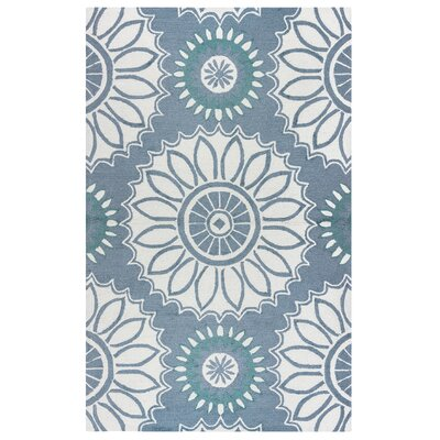 Evangeline Hand-Tufted Gray Floral Indoor/Outdoor Area Rug Size: 36 x 56