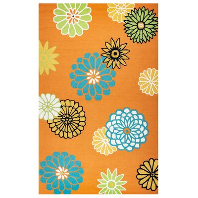 Evangeline Hand-Tufted Orange Indoor/Outdoor Area Rug Size: Round 8
