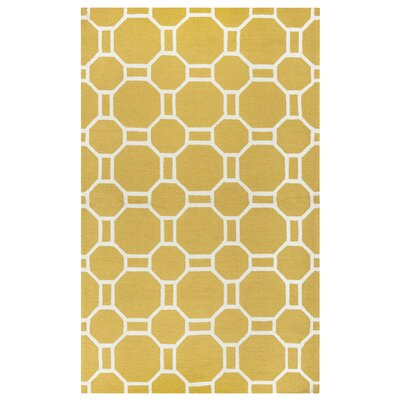 Evangeline Hand-Tufted Gold Indoor/Outdoor Area Rug Size: Rectangle 9 x 12