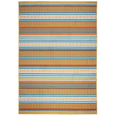 Terry Orange/Blue Indoor/Outdoor Area Rug Rug Size: Round 55