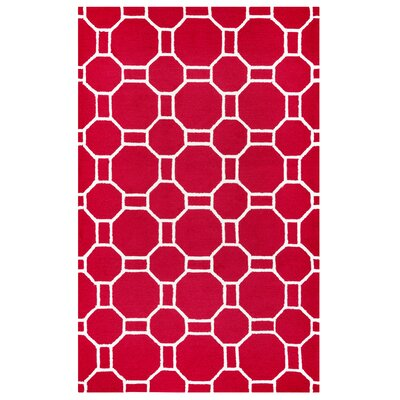 Evangeline Hand-Tufted Red Indoor/Outdoor Area Rug Size: 76 x 96
