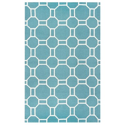Evangeline Hand-Tufted Teal Indoor/Outdoor Area Rug Size: Rectangle 5 x 76