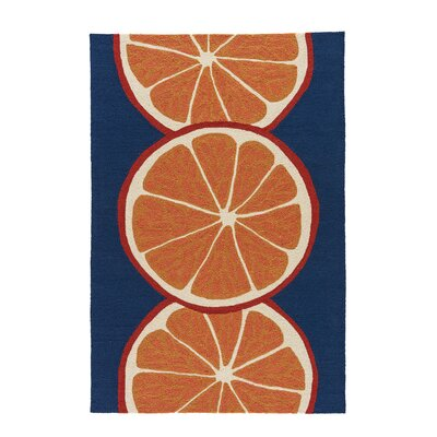 Smith Conversational Orange/Blue Indoor/Outdoor Area Rug Rug Size: 2 x 3