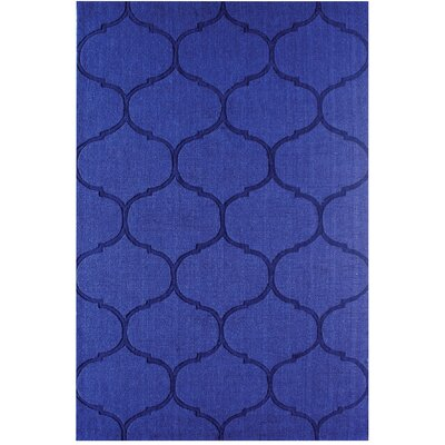 DeMastro Hand-Woven Blue Wool Area Rug Rug Size: 3 x 5