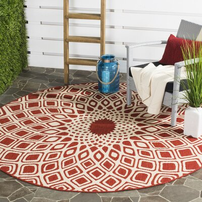 Mullen Red/Beige Indoor/Outdoor Area Rug Rug Size: Round 67