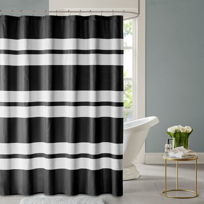 Blair Printed Shower Curtain Color: Black
