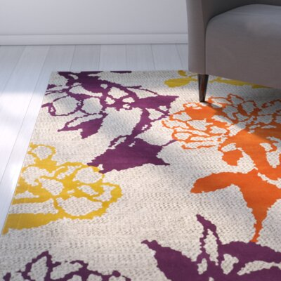 Nanette Light Grey / Purple Floral and Plant Rug Rug Size: Round 67