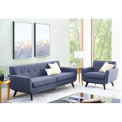 Amber Linen Living Room Set Upholstery: Blue