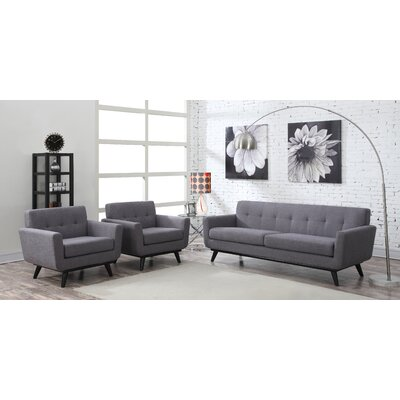 Amber Linen Living Room Set Upholstery: Gray