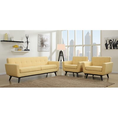 Amber 2 Piece Living Room Set Upholstery: Mustard