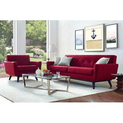 Amber Linen Living Room Set Upholstery: Red