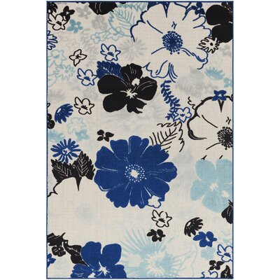 Dorinda Blue/Black Indoor/Outdoor Area Rug Rug Size: 2 x 3