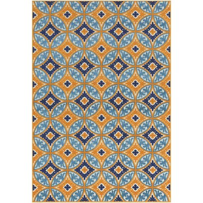 Dorinda Orange/Blue Indoor/Outdoor Area Rug Rug Size: Rectangle 5 3 x 7 3