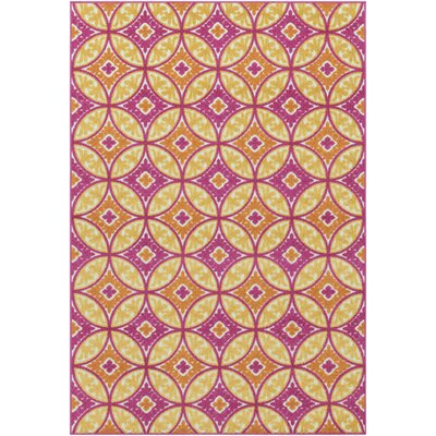 Dorinda Pink/Yellow Geometric Indoor/Outdoor Area Rug Rug Size: Rectangle 2 x 3