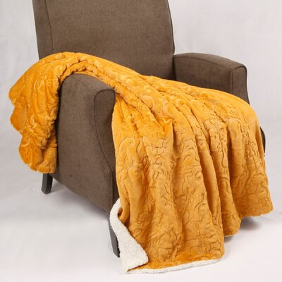 Clare Faux Fur and Sherpa Throw Blanket Color: Jojoba Yellow, Size: 60 L x 50 W
