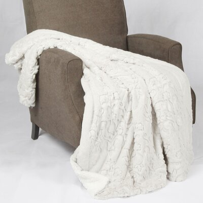 Clare Faux Fur and Sherpa Throw Blanket Color: White, Size: 60 L x 50 W