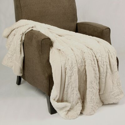 Clare Faux Fur and Sherpa Throw Blanket Color: White Grape, Size: 60 L x 50 W
