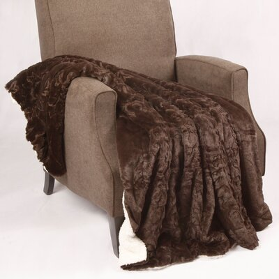 Clare Faux Fur and Sherpa Throw Blanket Color: Carafe, Size: 60 L x 50 W