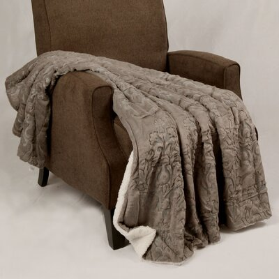 Clare Faux Fur and Sherpa Throw Blanket Color: Cloud Burst, Size: 60 L x 50 W