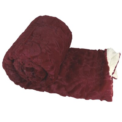 Clare Faux Fur and Sherpa Throw Blanket Color: Sun Dried Tomato, Size: 60 L x 50 W