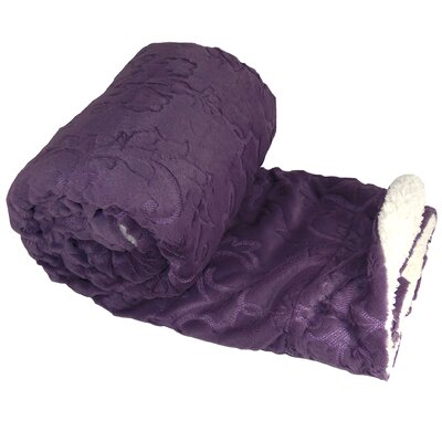 Clare Faux Fur and Sherpa Throw Blanket Color: Purple, Size: 60 L x 50 W