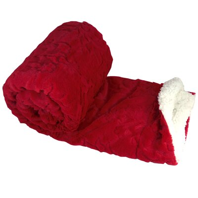 Clare Faux Fur and Sherpa Throw Blanket Color: Chili Pepper, Size: 60 L x 50 W
