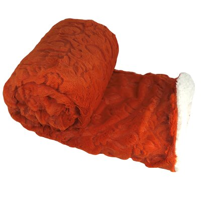 Clare Faux Fur and Sherpa Throw Blanket Color: Burnt Orange, Size: 60 L x 50 W