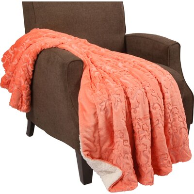 Clare Faux Fur and Sherpa Throw Blanket Color: Spice Coral, Size: 80 L x 60 W