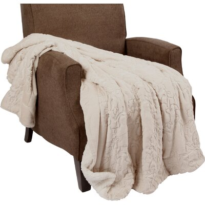 Clare Faux Fur and Sherpa Throw Blanket Color: Oatmeal, Size: 60 L x 50 W