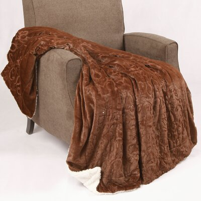 Clare Faux Fur and Sherpa Throw Blanket Color: Coffee Bean, Size: 60 L x 50 W