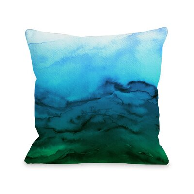 Alena Winter Waves Ombre Throw Pillow Size: 16 H x16 W x 3 D, Color: Blue/Green