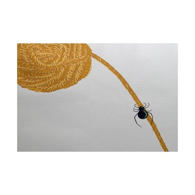 Berin Spider Holiday Print Gold Indoor/Outdoor Area Rug Rug Size: 4 x 6
