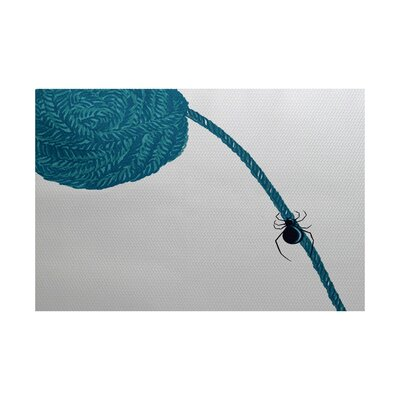 Spider Holiday Print Teal Indoor/Outdoor Area Rug Rug Size: 3 x 5