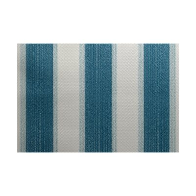 Addyson Stripe Print Teal Indoor/Outdoor Area Rug Rug Size: Rectangle 2' x 3'
