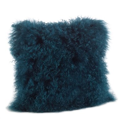 Becky Mongolian Fur Throw Pillow Color: Teal, Size: 16 x 16