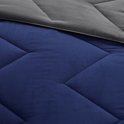 Oliver Reversible Comforter Set Size: Twin / Twin XL, Color: Charcoal / Blue