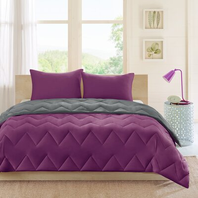 Oliver Reversible Comforter Set Size: Twin / Twin XL, Color: Charcoal / Purple