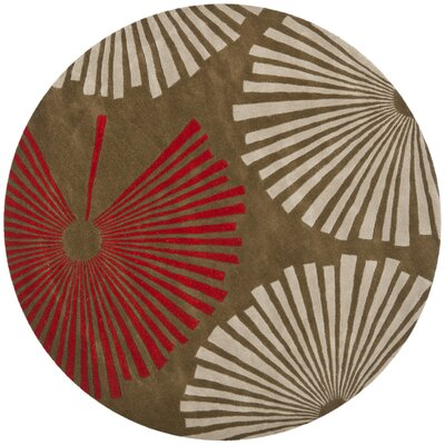 Chidi Brown/Ivory Rug Rug Size: Round 6