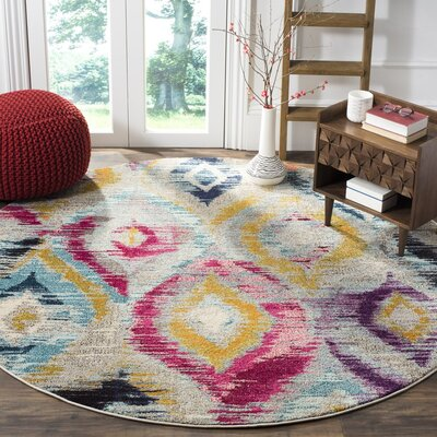 Goose Point Orange/Yellow Area Rug Rug Size: Round 67