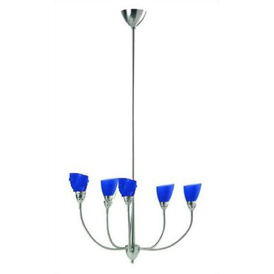 Monroe 5-Light Kitchen Island Pendant Finish: Steel with Blue Shades