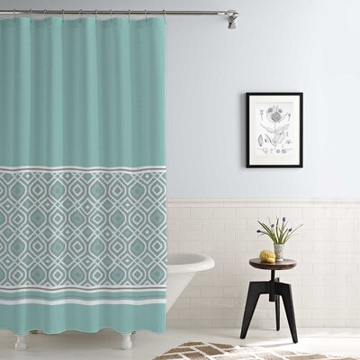 Jaida Waterproof Printed 14 Piece Shower Curtain Set Color: Aqua