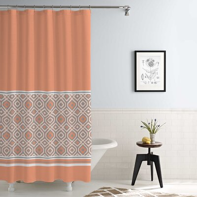 Jaida Waterproof Printed 14 Piece Shower Curtain Set Color: Coral