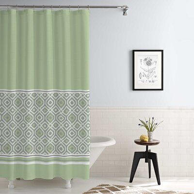 Jaida Waterproof Printed 14 Piece Shower Curtain Set Color: Sage